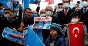 Uighur Muslims protest in Turkey as Chinese foreign minister visits 23